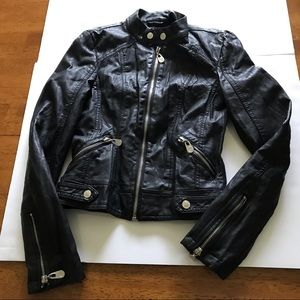 Guess | Faux Black Leather Motorcycle Jacket XS